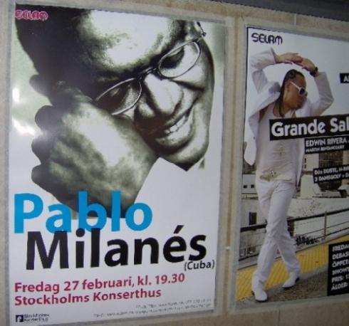 Afiche anunciando el concierto de Pablo Milanés en Estocolmo. Foto: Carlos M. Estefanía