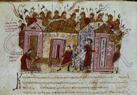 Guardia varega dibujada en la Crónica de Skylitzes, historiador bizantino de la segunda mitad del siglo XI