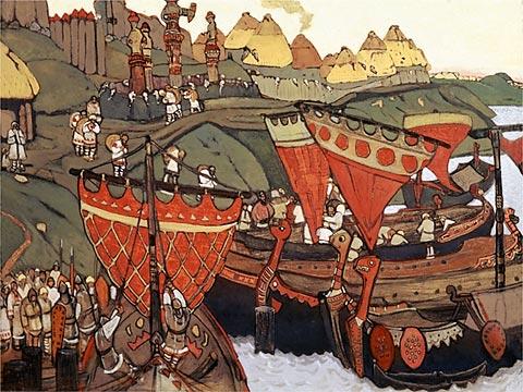 """""""Eslavos en el Dnieper"""", obra del pintor ruso Nikolai Roerikh,"""