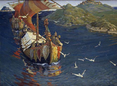 """""""Visita del otro lado del mar"""", 1901, obra del pintor ruso Nikolai Roerikh"""