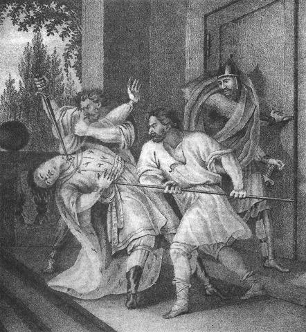 Muerte de Jaropolk según pintura del siglo XVIII