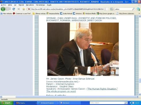 La foto de Mr. James Cason, tal y como se ve en mi computadora tras llegarme el boletin de Misceláneas de Cuba