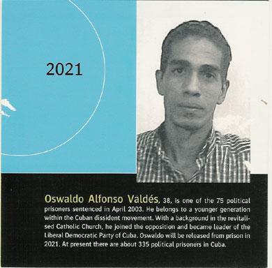 Postal realizada por los liberales suecos pidiendo la libertad de Osvaldo Alfonso Valdés durante su encarcelación