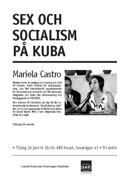 Afiche en sueco anunciando al conferencia de Mariela