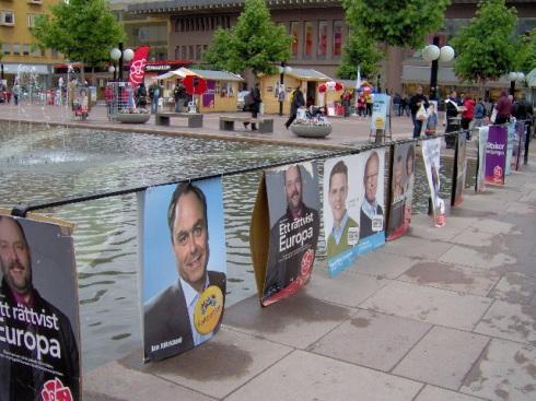 Afiches electorales durante la campaña sueca a las elecciones europeas. Foto. Carlos M. Estefanía