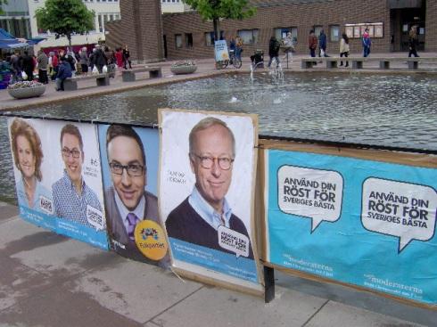 Afiches electorales, Suecia, Junio 2009. Foto: Carlos M. Estefanía