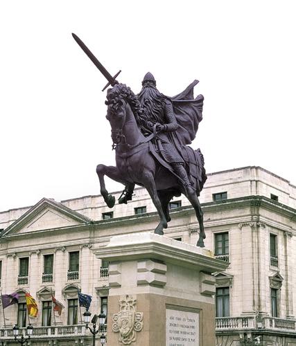 Estatua del Cid Campeador, que creímos colocada ante el Ayuntamiento de Burgos  pero que según el lector Jáime nos aclara,  se encuentra enfrente de la Diputación Provincial de la ciudad