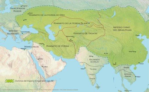 Dominios del Imperio mongol en el siglo XIII