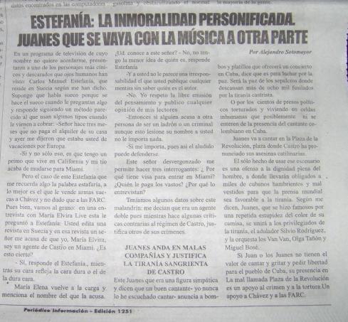 Artículo escrito por Alejandro Sotomayor contra Carlos Manuel Estefanía y publicado por Información