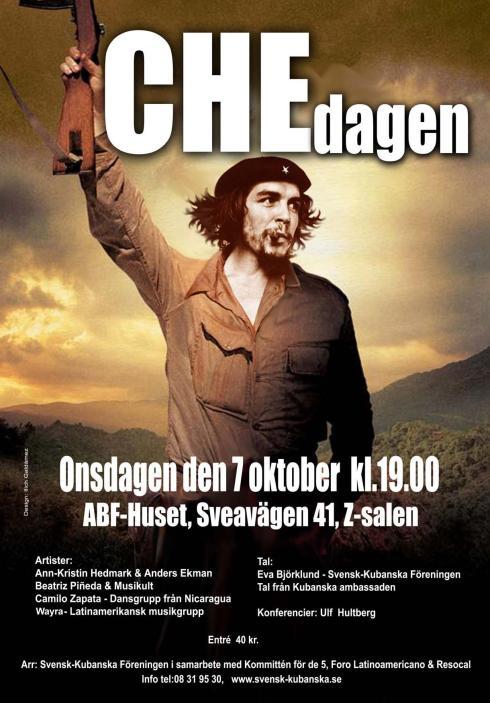 Afiche invitanto a la conmemoración en Suecia de la caída del Che