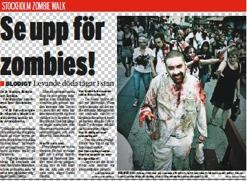 Articulo aparecido en periódico Stockholm City, edición del 8 de octubre de 2009, anuncinado para el día 10 un nuevo maratón de Zombis atravesaría