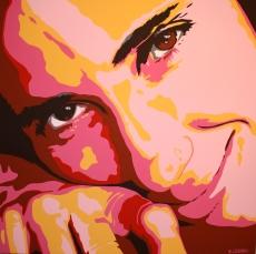 Ernesto Lozano Rivero, Pintor cubano, presenta un cuadro homenaje a la bloguera Yoani Sanchez durante Conferencia-Taller Juventud y Cultura Cubana II. México, diciembre de 2009