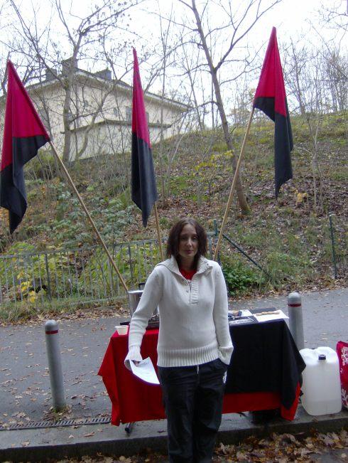 A pocos metros de la entrada a la feria  una activista intenta reclutar nuevos miembros para SAC, la unión obrera de los anarcosindicalistas suecos. Foto: Carlos M. Estefanía